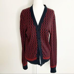 Anthropology Red and Blue Cardigan